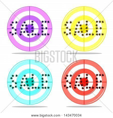 Word Sale written holes from shots on target in four colors