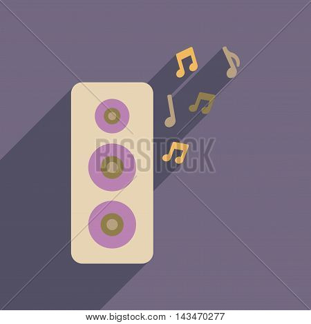 Flat web icon with long  shadow musical speaker