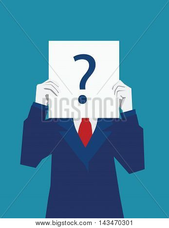 Businessman holds the license confusion. Question mark. Vector flat