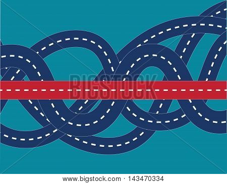 Correct way in confused road. Concept business illustration. Vector flat