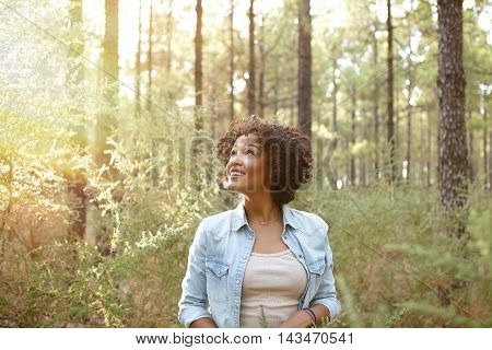 Young Girl Smiling In The Woods