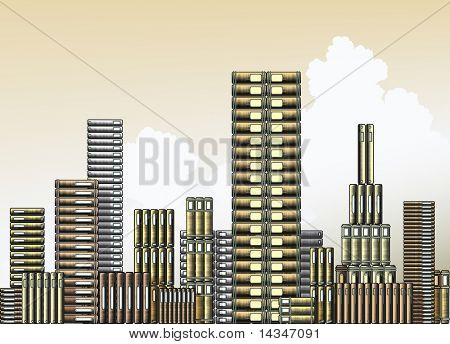 Editable vector illustration of piles of books as a city skyline