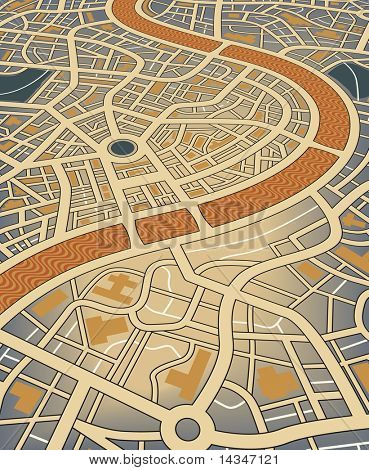 Editable vector illustration of a nameless street map from an angled perspective