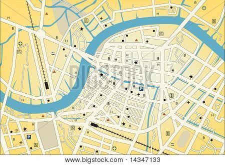 Vector streetmap of a generic city with no names