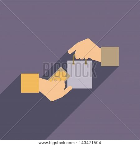 Flat web icon with long  shadow money purchase