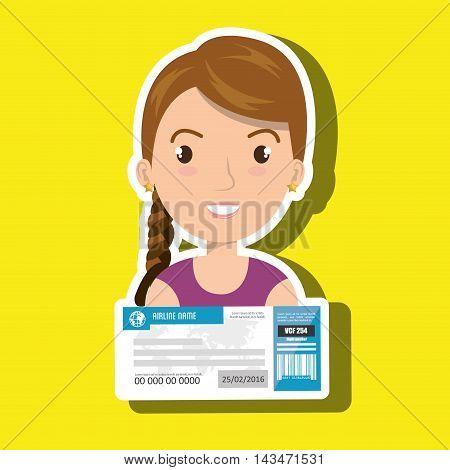 woman ticket travel icon vector illustration design