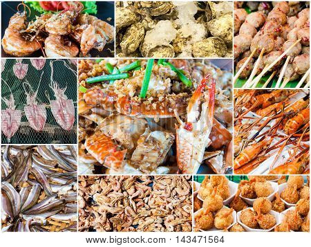 Photo Collage Of Sun Dried Thai Seafood