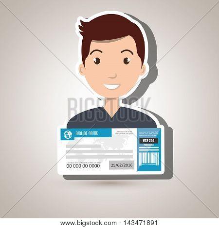 man ticket travel icon vector illustration design