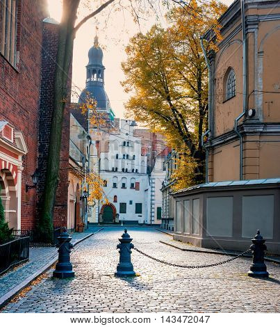 Autumn in old Riga - the capital and largest city of Latvia, a major commercial, cultural, historical and financial center of the Baltic region