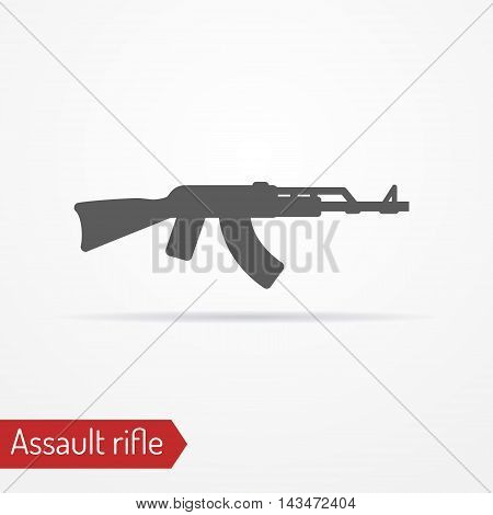 Abstract isolated assault rifle icon in silhouette style with shadow. Army vector stock image.
