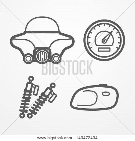 Collection of classic road motorcycle parts in line style. Windshield, fuel tank, speedometer and shock absorbers. Motorcycle vector stock image.