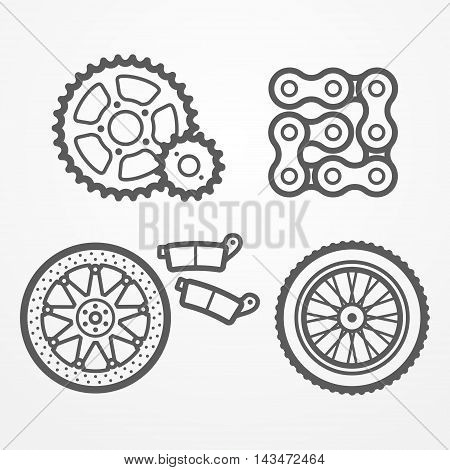 Collection of motorcycle parts icons in line style. Sprockets, chain, wheel and brake disc with pads. Motorcycle store vector stock image.