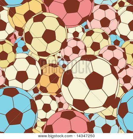 Editable vector seamless tile of colorful footballs