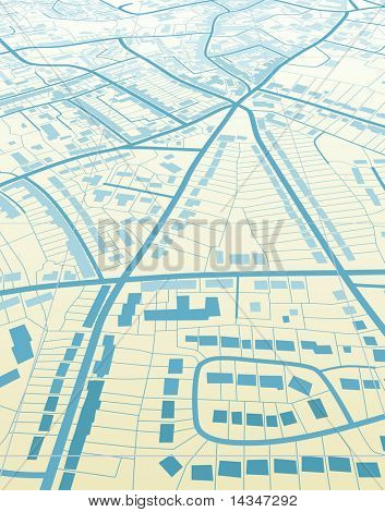 Editable vector illustration of a generic street map without names