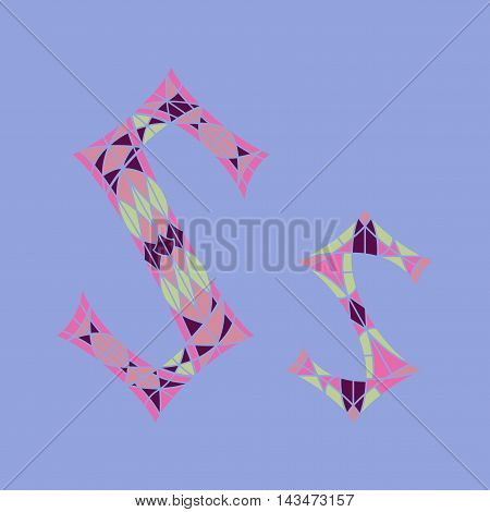 Low poly letter S in colored mosaic polygon