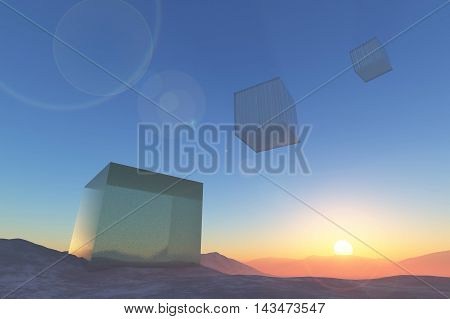 Glass cubes flying into sunset 3D illustration rendering