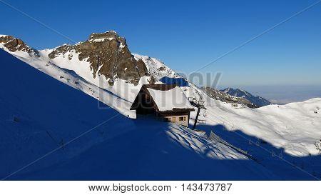 Winter scene in the Swiss Alps. Morning in the Flumserberg ski area.
