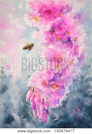 Bee flying to the pink cherry flowers.Picture created with watercolors.