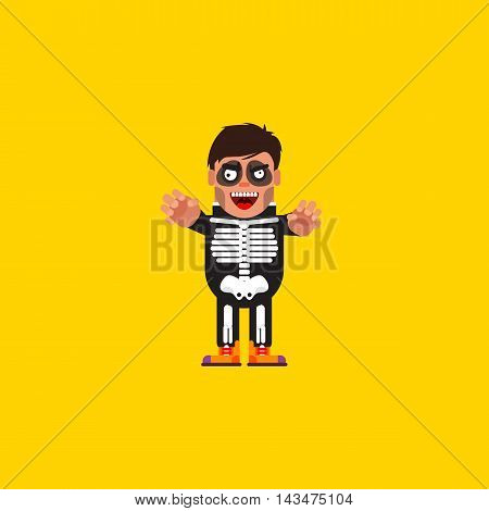 Stock vector illustration a guy in a skeleton costume character for halloween in a flat style