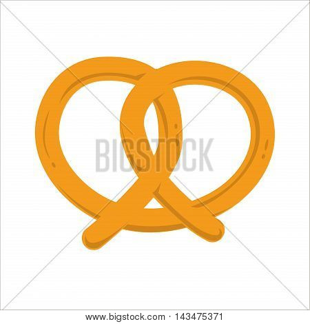 Oktoberfest pretzel isolated salty snack fresh german tasty traditional food vector icon. Salty pretzel snack and pretzel delicious. Bakery pretzel twist bavaria fresh food traditional snack.