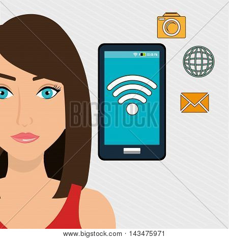 woman smartphone app vector illustration graphic eps 10