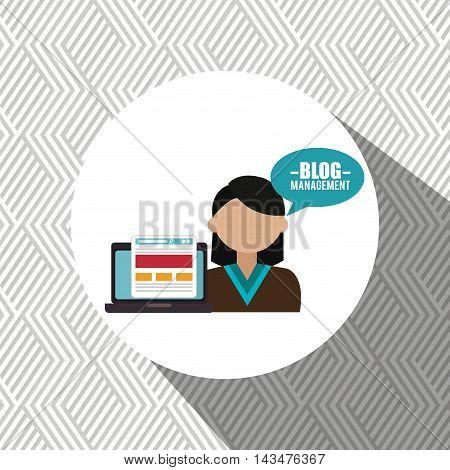 laptop person blog management vector illustration graphic