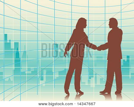 Illustration of business people shaking hands with a city background