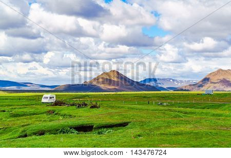 View of cultivated land at Modrudalur in the northeast of Iceland