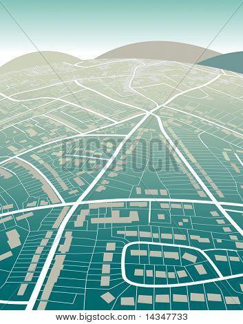 Bearbeitbare Vektor-Illustration einer generischen Straßenkarte und grünen Hügeln