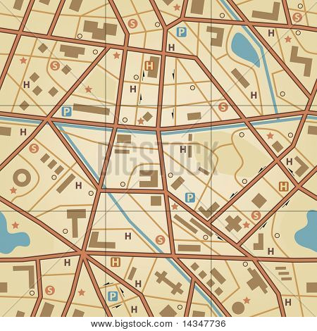 Editable vector seamless tile of a generic city without names