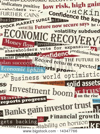 Background design of newspaper headlines about economic recovery