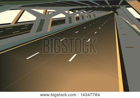 Illustration of a car less highway and concrete structure