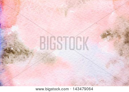 Abstract background original art watercolor painting. Paper texture with pink brown and blue stains. Colorful handmade technique aquarelle.