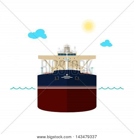 Front View of the Vessel, Oil Tanker on White Background ,International Freight Transportation ,Vessel for the Transportation of Goods ,Vector Illustration