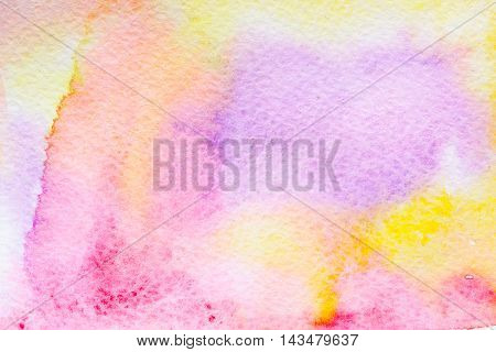 Abstract background original art watercolor painting. Paper texture pink red yellow purple and orange stains. Colorful handmade technique aquarelle.