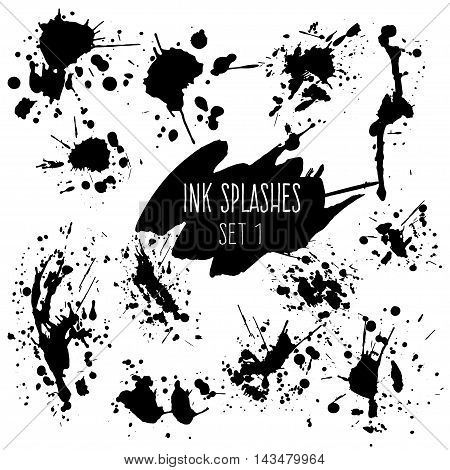 Creative ink splashes set. Expressive blots and sprays isolated on white background.