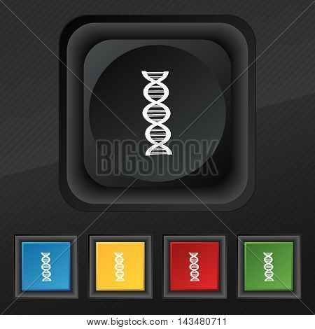 DNA icon symbol. Set of five colorful stylish buttons on black texture for your design. Vector illustration