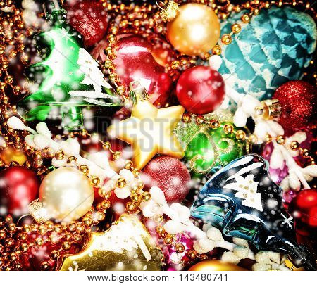 Christmas Colorful Background. Christmas and New Year Decoration and Snow