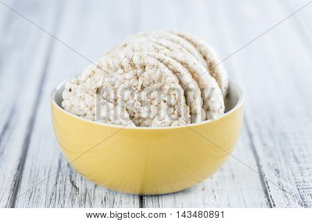 Wooden Table With Rice Cakes