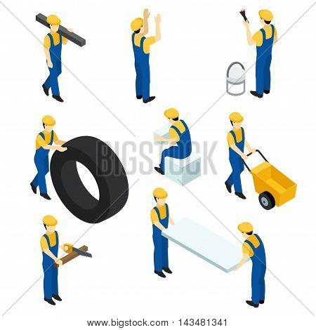 Set of vector isometric workers construction workers builders in the form. People isometric for web design. Vector illustration