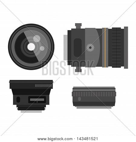 Camera photo optic lenses set on white background vector. Different types objective equipment, professional look photo optic lenses. Photo optic lenses digital equipment optical technology.