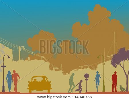 Editable vector silhouette of a busy street