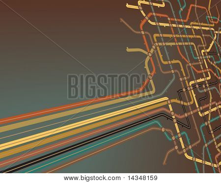 Abstract editable vector background of a subway map