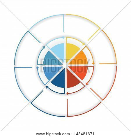 Arrows from colourful lines Around circle. Template infographic eight position. Pie chart