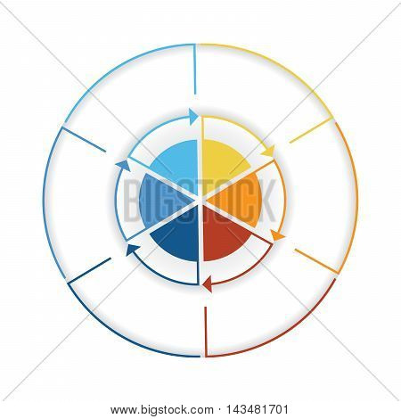 Arrows from colourful lines Around circle. Template infographic six position. Pie chart