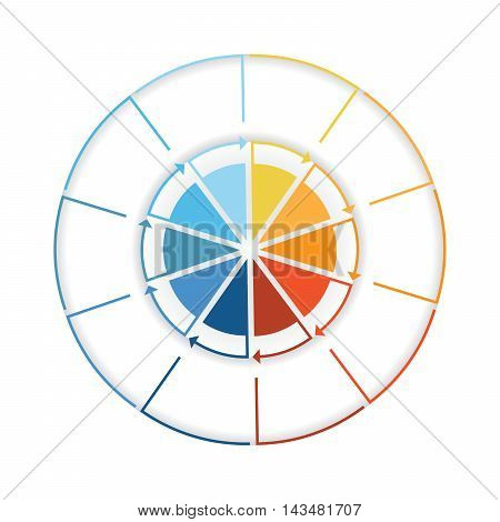 Arrows from colourful lines Around circle. Template infographic ten position. Pie chart