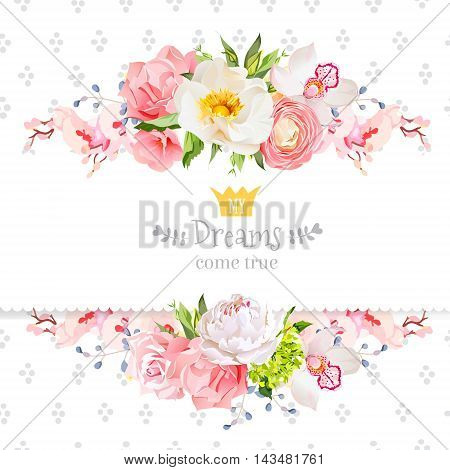 Peony wild rose orchid carnation ranunculus hydrangea blue berries and green leaves vector design card. Speckled round confetti backdrop. All elements are isolated and editable.