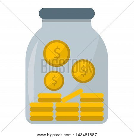 Savings money box coins isolated on white background. Jar for savings full of coins. Piggy bank for saving money vector. Financial dollar money jar save investment container deposit earn economic.