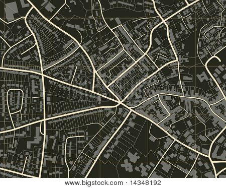 Editable vector illustration of a detailed generic street map without names