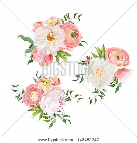 Bouquets of rose, peony, ranunculus, dahlia, carnation, green plants. Vector design elements.